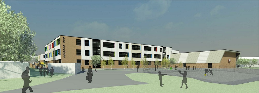 artists impression of modern three storey building