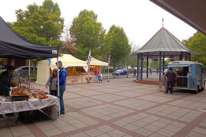 market stall, bandstand and pizza van