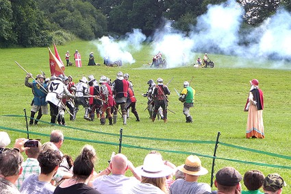 cannons, smoke and battle renactment
