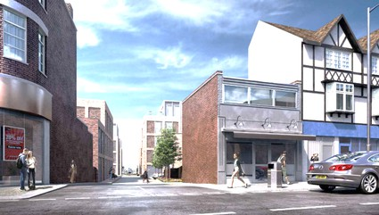 artists impression of new flats, tall and box-like