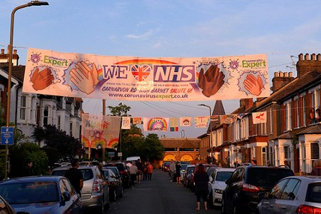 banner across a suburban street -- we (heart) NHS