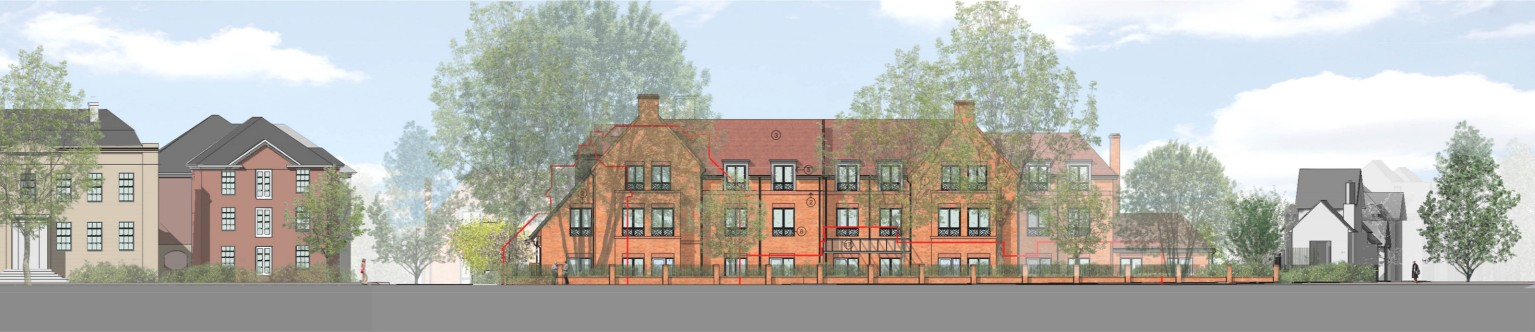 artists impression of new care home, 3 floors of red brick with pitched roof