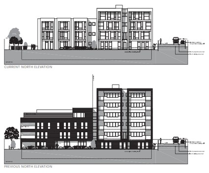 Two elevation drawings, one 4 storeys and one 6 storeys