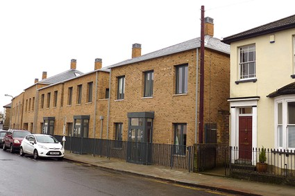 two storey terraced houses, yellow brick