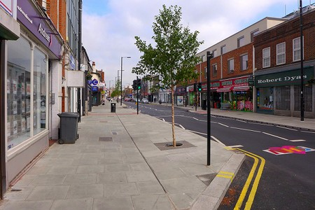 Barnet High Street with widened pavements and newly planted trees