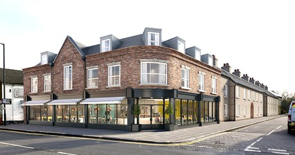 Artists impression of 3 storey brick building with restaurant on ground floor