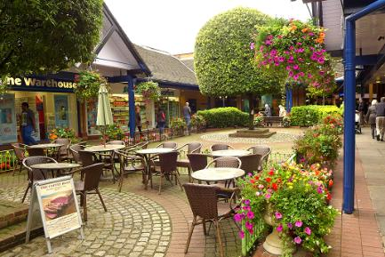 Spires Courtyard with Flowers, Barnet