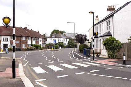 zebra crossing and Victorian cottages