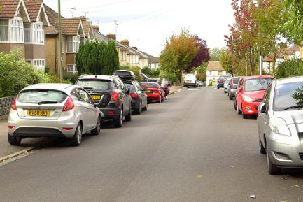 Cars parked half on pavement, Barnet
